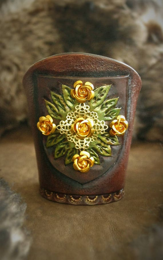 Medieval Fantasy Game of thrones Margaery Tyrell tooled leather Cuff Bracelet