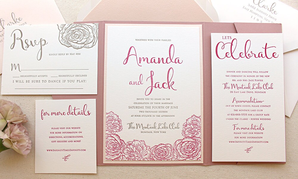 Modern Wedding Invitation Wording: The Montauk Suite Modern Letterpress Wedding Invitation