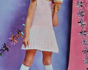 Girl's crochet party dress pattern pdf INSTANT download crochet pattern only pdf 1970s