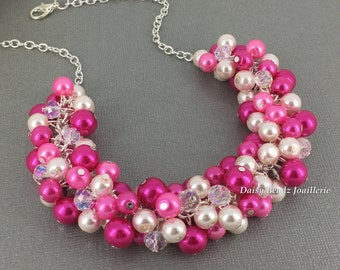 Fuchsia Necklace Pearl Necklace Bridesmaids Gift Bridesmaid Necklace Hot Pink Necklace Wedding Necklace Pearl Jewelry Summer Wedding