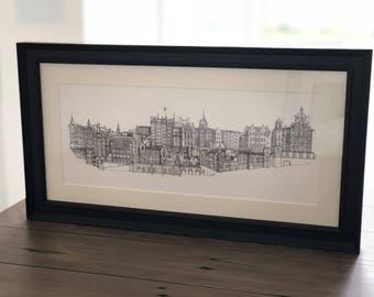 Edinburgh City, Scotland - Sketch of Old Town (FRAMED)
