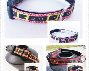 Santa Buckle Dog Collar, Christmas Dog Collar, Mini Santa Dog Collar, Dog Supplies, Christmas Decor, Gift for Dogs, Small Dog Collar