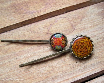 Mexican wedding, Hair Accessories, Bobby pins, Hair pins, Gold and orange, folk art, Mexican jewelry, colorful hair accessory