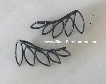 Hand Oxidized Leaf Ear Climbers - Solid 925 Sterling Silver Geometric Jewelry - Insurance Included