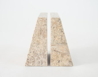 Fossilized Stone Bookends