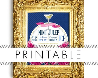 Derby Mint Julep Bar Signs Printable in Navy