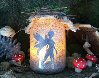 Dark Fairy Night Light Jar Lantern, Party Decoration, Birthday Decor,Unseelie Court Fairy Jars,Dark Fairy Light,Fairy Tale Night Light