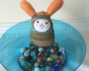 Handstitched Bunny Rabbit Ornament /Pin Cushion /Bowl Filler Made From A Vintage Wool Sweater