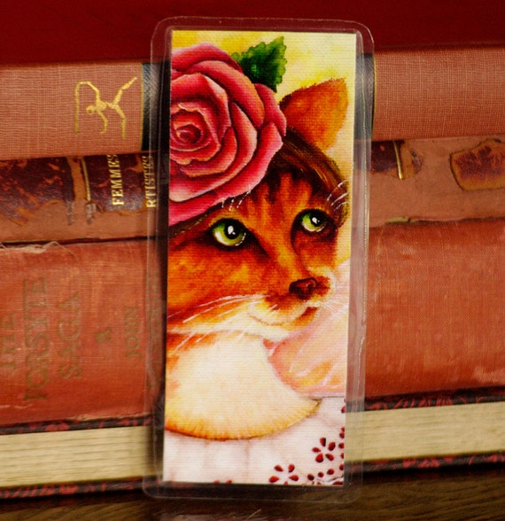 Rose Flower Fairy Cat Bookmark