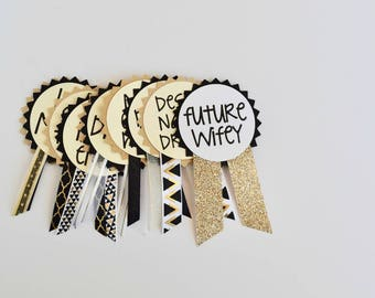 Black and Gold Bachelorette Party Pins, Name Tags, Bachelorette Sash, Bachelorette Party Decorations