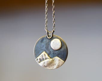 Moon Necklace Nature Jewelry Sterling Silver Necklace Mountain Necklace Moon Jewelry Celestial Jewelry Boho Landscape Mountain Pendant