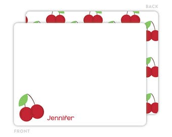 Cherry Note Cards - Personalized Note Cards for Kids - Cherry Notecards - Kids Thank You Cards - Cherry Stationery - Kids Stationery
