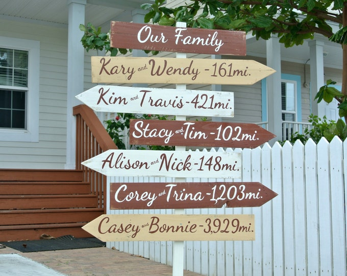 Event sign. UNIQUE gift for family wood directional sign. Rustic Destination mileage signage. Housewarming gift.