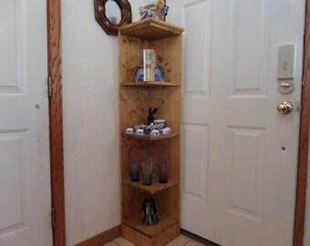 48 in tall Golden peacan corner shelf ,bookcase, display,