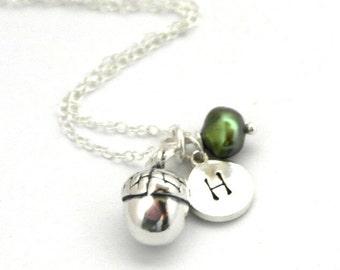 Acorn necklace - Autumn necklace - Fall necklace - Nature necklace - Silver acorn pendant - Acorn charm necklace