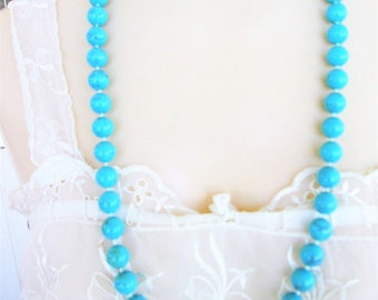 Vintage Aqua Blue Necklace Round Blue Gemstone Knotted Bead Necklace Blue Gemstone Black Swirl Necklace Vintage Jewelry Gift