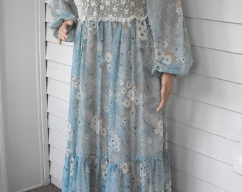 70s Prairie Dress Boho Lace Gunne Sax Style Vintage Rags by Kressandra S M 13