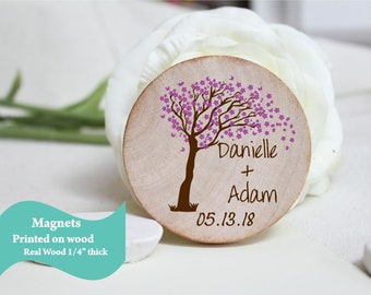 Save The Date Magnet cherry blossom rustic  Wedding favor