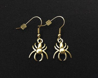 SPIDER Charm Earrings Stainless Steel Ear Wire Silver Metal Unique Gift