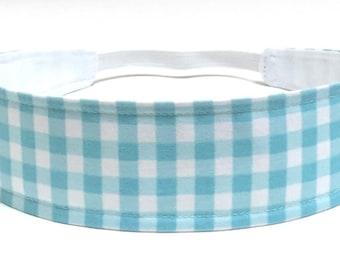 Ready To Ship - Girls Gingham Headband, Child Headband, Children's Reversible Headband - Gingham - AQUA BLUE GINGHAM