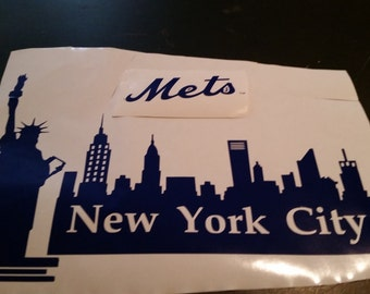Wall Decal, New York Mets,  New York City, New york skyline decal, New York  City logo decal  17 x 12 large wall size