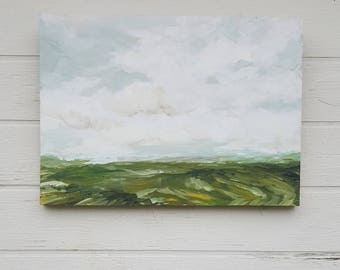 Fields Anew Original Acrylic Impressionism Painting Reclaimed Wood Panel