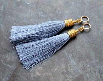 Silk Tassel Earrings, Grey Tassel Earrings, Gold Tassel Earrings, Tassle Earrings, Statement Earrings, Gold Hoop Earrings, Long Earring