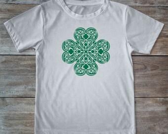 Saint patricks day, st patricks, saint patricks day shirt, clover shirt, tribal shirt, mandala shirt, mandala clover, green clover shirt