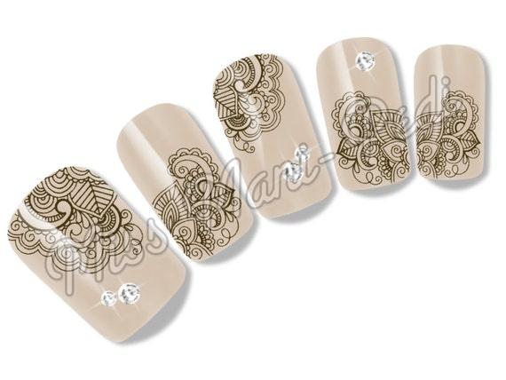 Henna Mehndi Nail Art : Nail art water slide decals transfers brown mehndi henna design