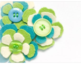 Harper - Set of 9 Handmade Felt Flower Embellishments / Flower Appliques / Felt Blooms / Felt Die Cuts / Felties / Felt Craft Supply / FF900