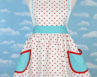 APRON ,retro red polka dot apron with aqua turquoise  womens full apron flirty hostess gift vintage inspired flirty