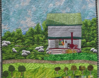 Where the Heart Is - Great Gift OOAK Original Fiber Arts - Old Farmhouse - Sheep - Chickens - Orchard