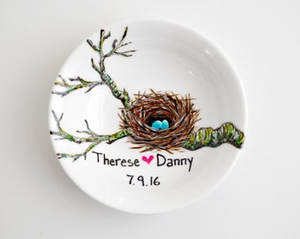 Birds Nest Jewelry Dish - Personalized Jewelry Bowl, Personalized Wedding Ring Dish, Wedding Gift, Bird Themed, Bluebird Eggs, Free Shipping