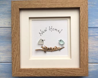 New Home Sea Glass Art framed picture