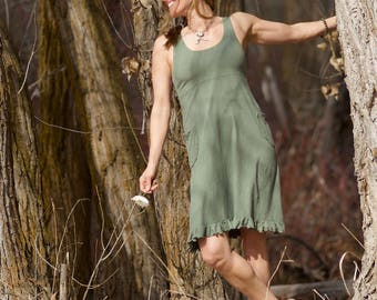 Hemp Ruffled Larkspur Dress - Women's Organic Clothing - Hemp Sundress