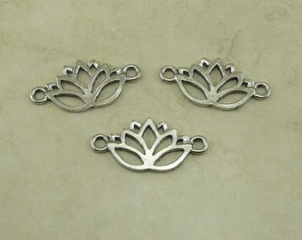 3 Lotus Flower Link Connectors > Yoga Zen Buddhist Tranquility Floral Bride Bridal - Raw Lead Free Silver Pewter I ship Internationally
