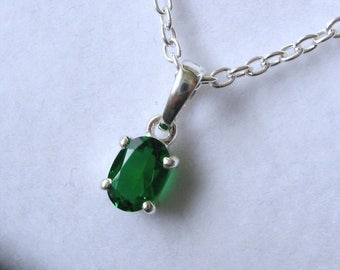Genuine SOLID 925 STERLING SILVER May Birthstone Emerald Pendant