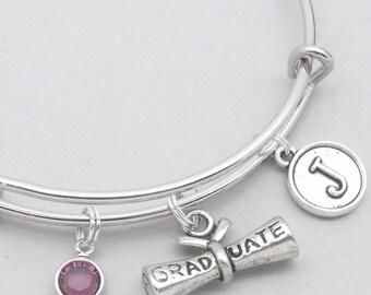 Graduate scroll vintage initial bracelet | graduation bracelet | personalised braclet for graduate | graduation jewelry | graduate gift