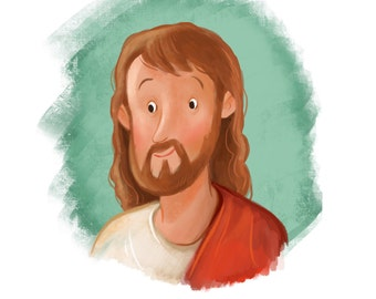 Jesus Christ painting for kids room, Cartoon, Christian art, children's decoration, LDS, primary, FHE, baptism decor, religious printable