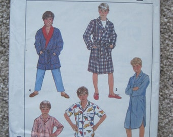 UNCUT Boys Robe and Pajamas in Two Lengths and Nightshirt - Simplicity Sewing Pattern 8327 - Vintage 1980's