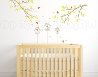 Branch Decal with Birdhouses and Birds ,Bird and Branch Wall Decal with Birdhouses for Baby Nursery, Kids, Childrens Room Decor 070