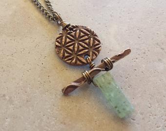 Bronze Artifact Pendant - Bronze PMC, Prehnite & Copper Necklace - Handmade Bronze Pendant - Artisan Made Jewelry - Altered Elements Jewelry
