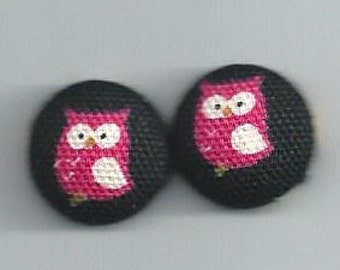 Red Owl Button Earrings or Bobby Pins