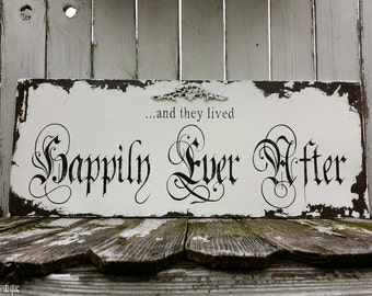 Happily Ever After Sign | Wedding Sign | Wood Sign | Rustic Wedding | Rustic Wedding Decor | Wooden Sign | Vintage Wedding | Chippy Paint