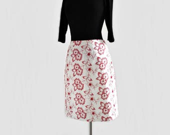 Vintage 90s white cotton skirt/ red floral embroidery/ A-line skirt/ 100 percent cotton/ Mica