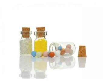 10 miniature 26.5x13.5mm glass jars