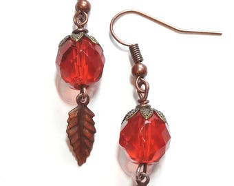 Orange and Leaf Earrings