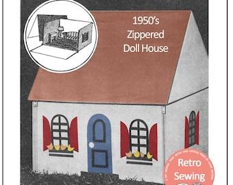1950's Doll House Sewing Pattern - PDF Craft Pattern - Instant Download Sewing Pattern - Dolls House Pattern