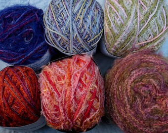 L'Atelier Scarf Kit One Skein Yarn 6 different combinations 75 yards multi strand fibers