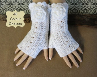 Flower Fingerless Wrist Warmers Fingerless Burlesque Gloves Womens Gift